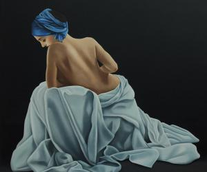 The bather lady with the blue scarf